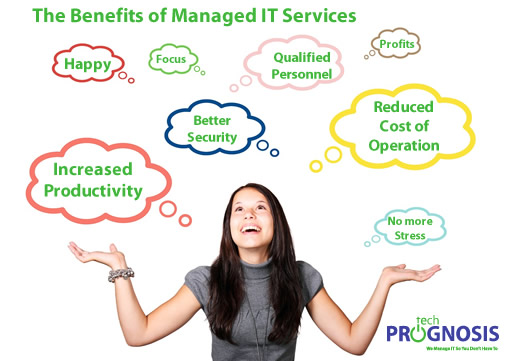 Image of a happy business woman, and text bubbles highlighting the benefits of managed IT services