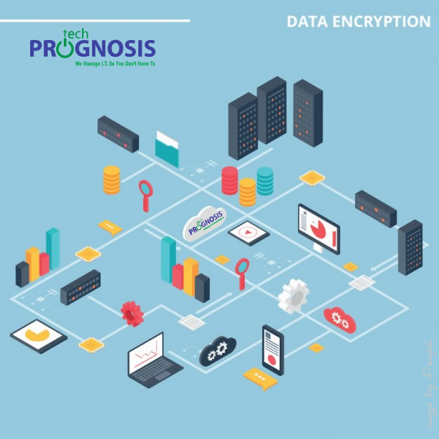 Infographic depicting various devices using data encryption.