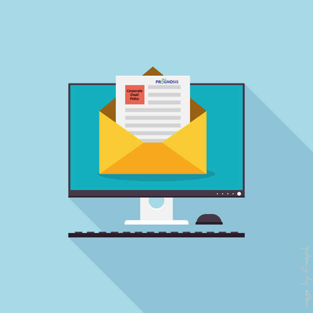 Mail envelope containing a documenton on a computer screen.