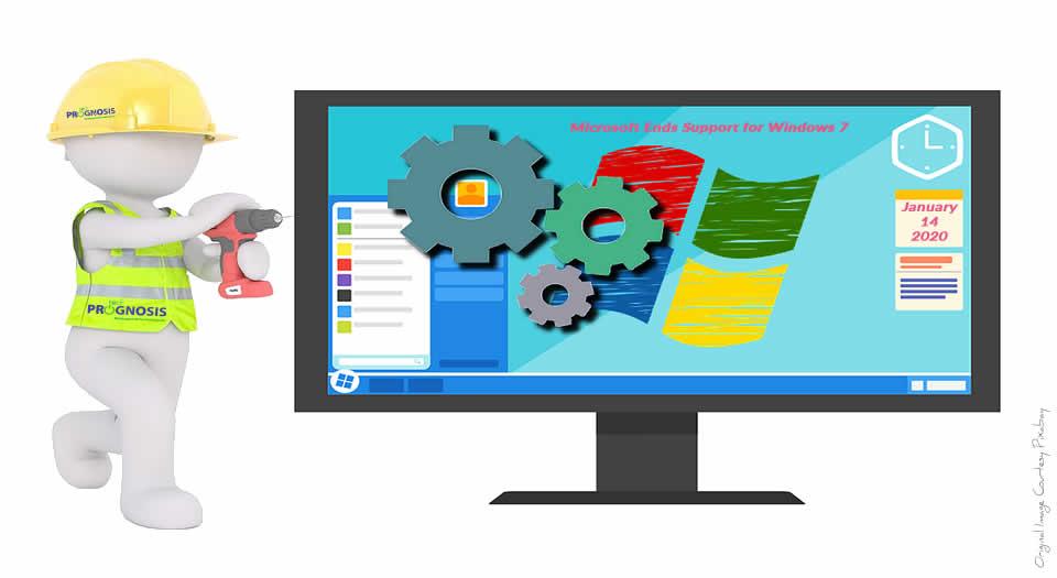 Tech Prognosis technician working on a Windows 7 computer