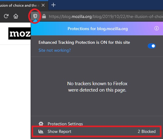 Tracking protection report in the new Firefox web browser