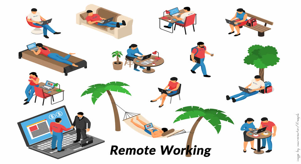 People in various remote working scenarios