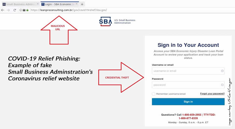 Fake SBA COVID-19 Relief website